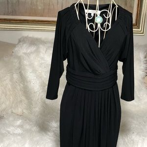 Evan Picone Black Short Sleeve Dress SZ  4